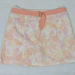 Peach pink watercolor floral skirt skort shorts